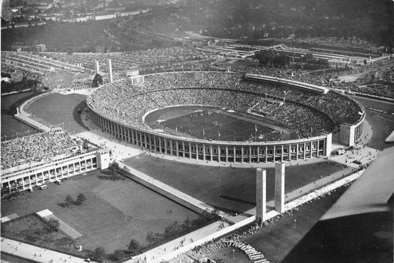 View of the Olympic Stadium in Berlin during the 1936 Summer Olympics (the Nazi Games) (Bundesarchiv_Bild_183-R82532)