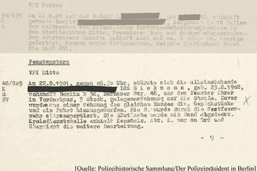 Berlin police report of Ida Siekmann's death