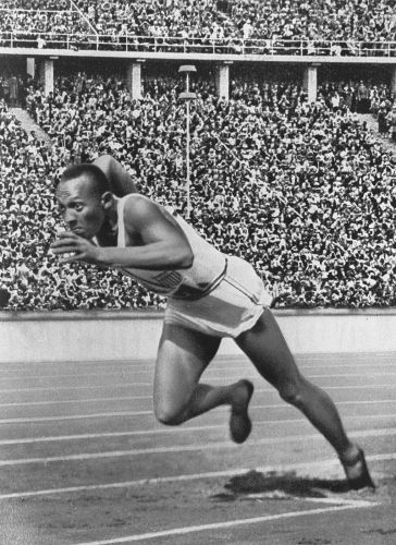 Jesse Owens at the 1936 Summer Olympics in Berlin