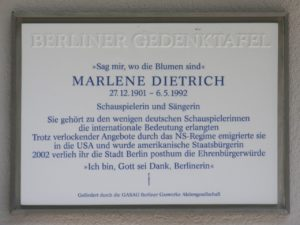 Plaque at Marlene Dietrich's Berlin Apartment