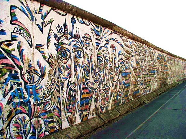 The East Side Gallery section of the Berlin Wall before renovation