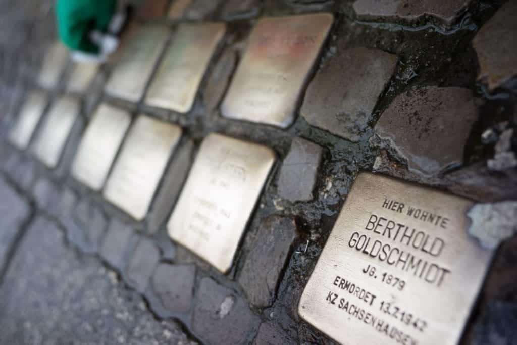 Stolpersteine in Berlin on the street