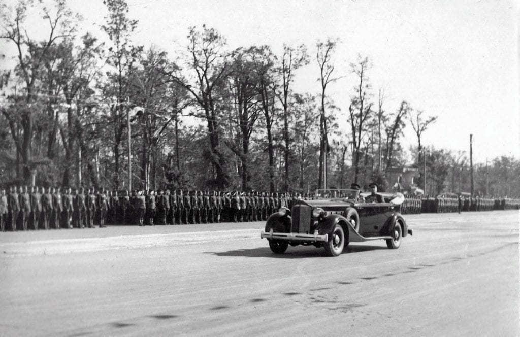 Marshall Zhukov was driven in front of the participating troops in an American built open-top Packard Twelve motor car