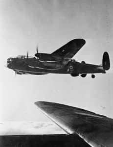 Wing View of British RAF Avro Lancaster - Battle of Berlin