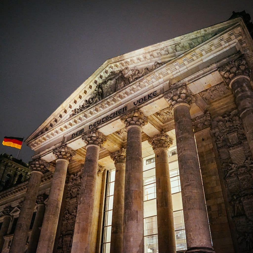 The Entrance To The Reichstag Building At Night