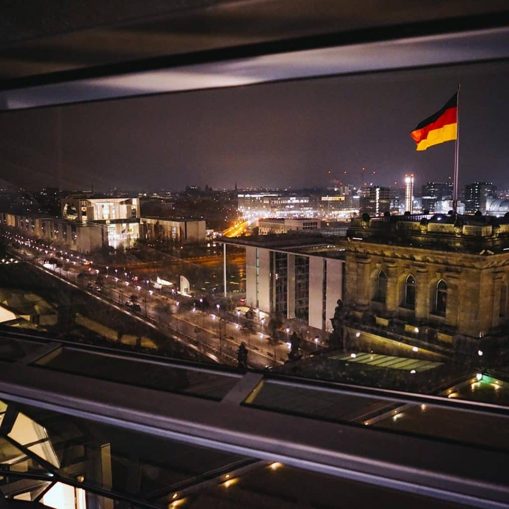 Looking At The Chancellory and German Flag From The Reichstag Building