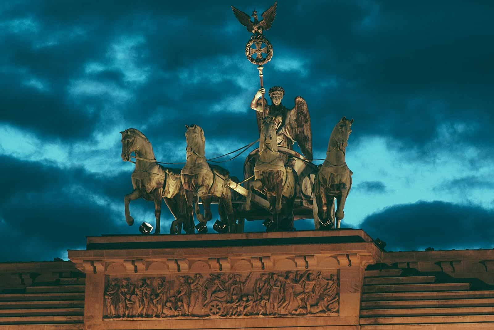 The Quadriage On Top Of The Brandenburg Gate At Night