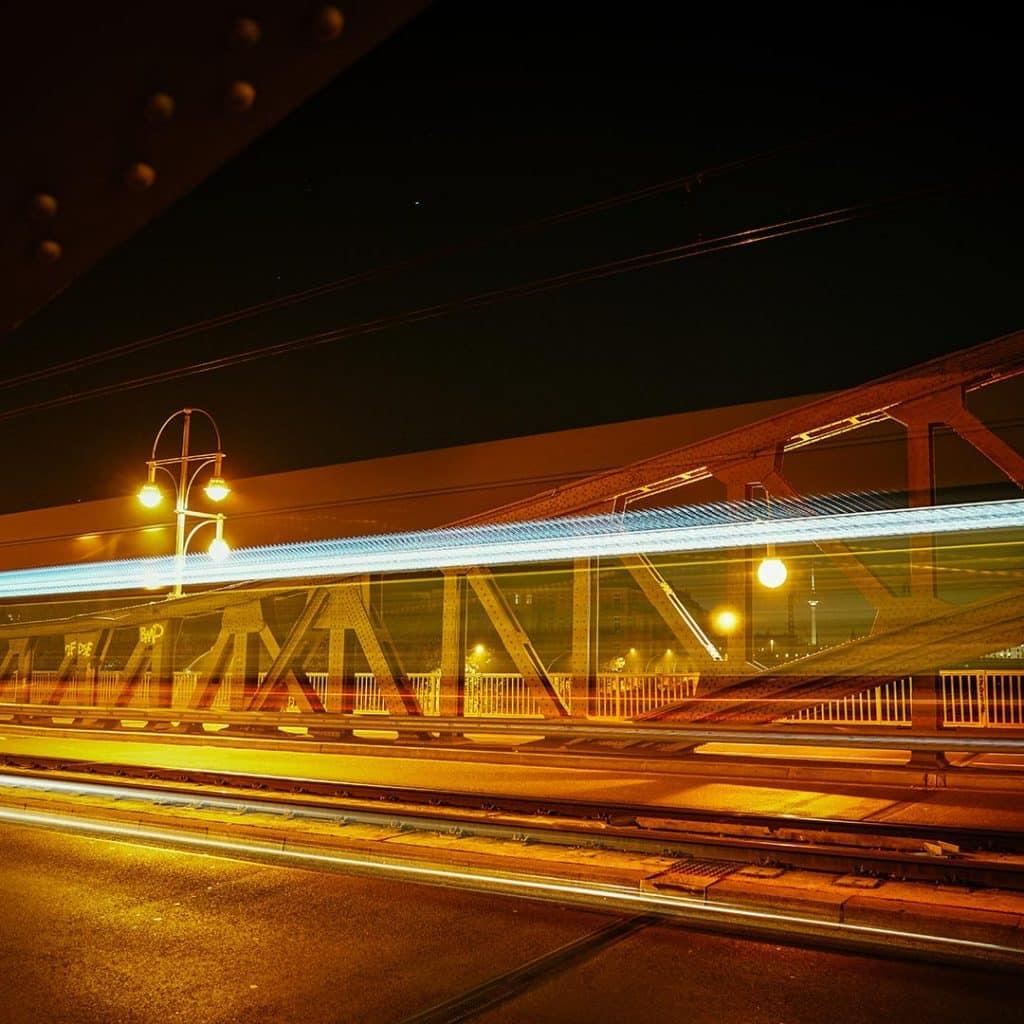The Bösebrücke At Night In Berlin