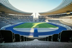 The Seating In The Olympic Stadium In West Berlin