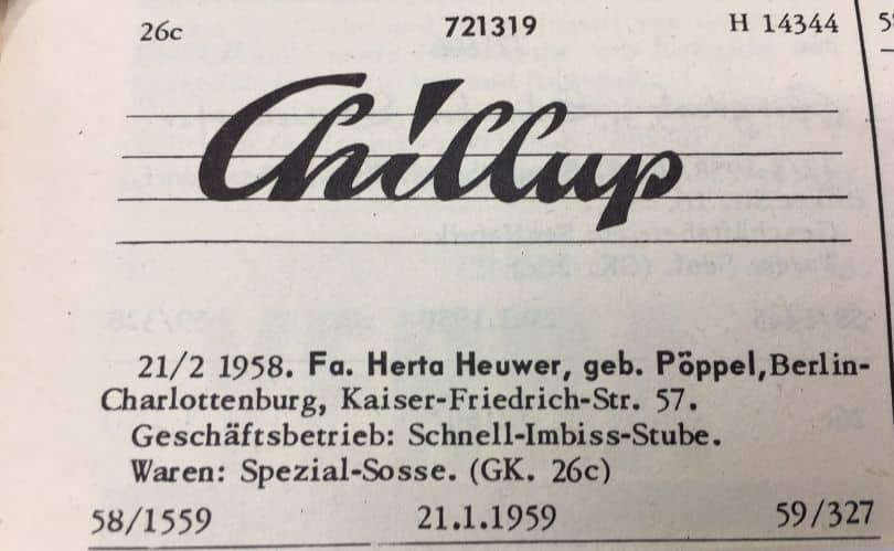Chillup Sauce - Herta Heuwer's Currywurst Recipe Invented in Berlin