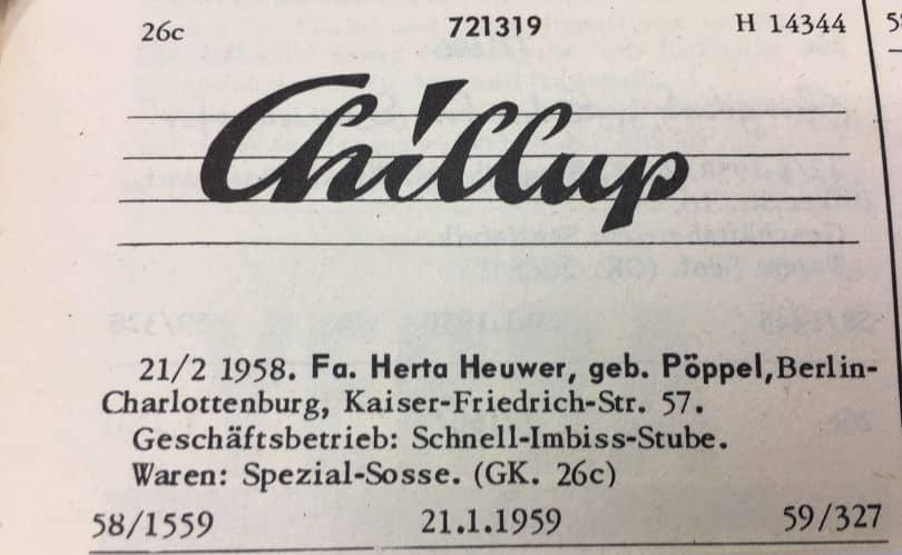 Chillup Sauce - Herta Heuwer's Currywurst Recipe Invented in Berlin