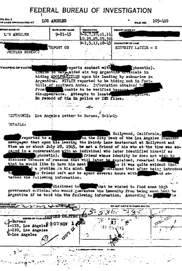 FBI file on Adolf Hitler's escape