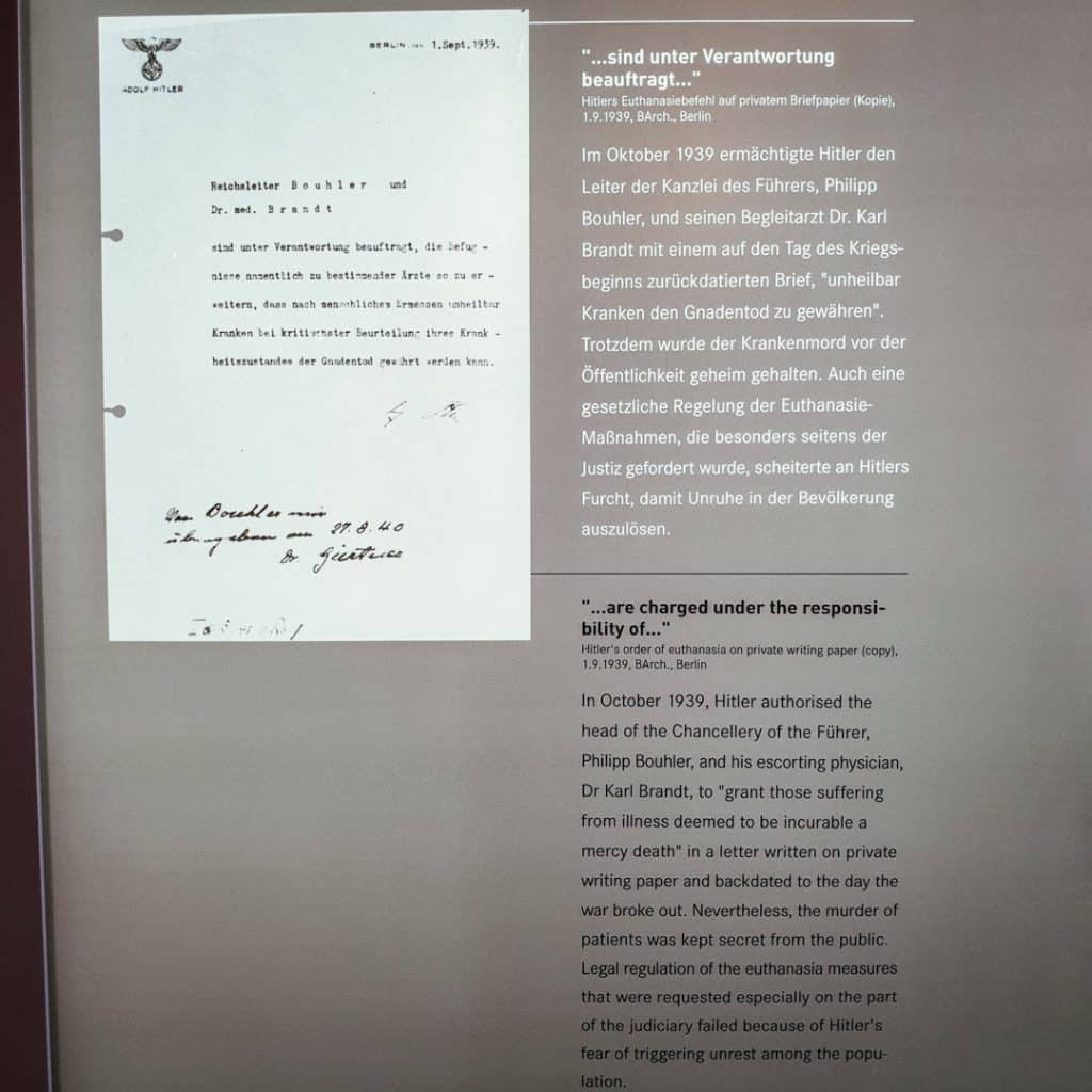 Order from Adolf Hitler at Brandenburg T4 Memorial