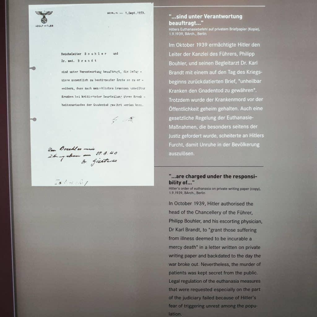 Order from Adolf Hitler at Brandenburg T4 Memorial
