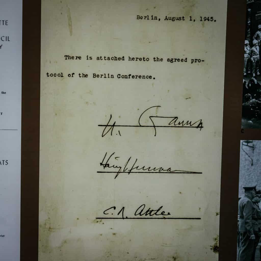Final Signatures of Truman, Stalin, Attlee