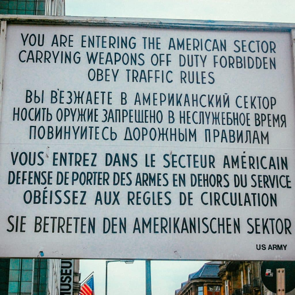 You are entering the American sector sign