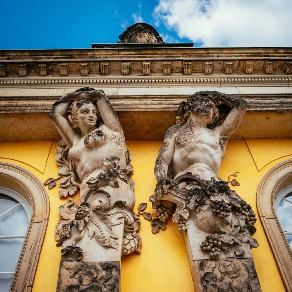 Detail on the building of Potsdam Sanssouci palace