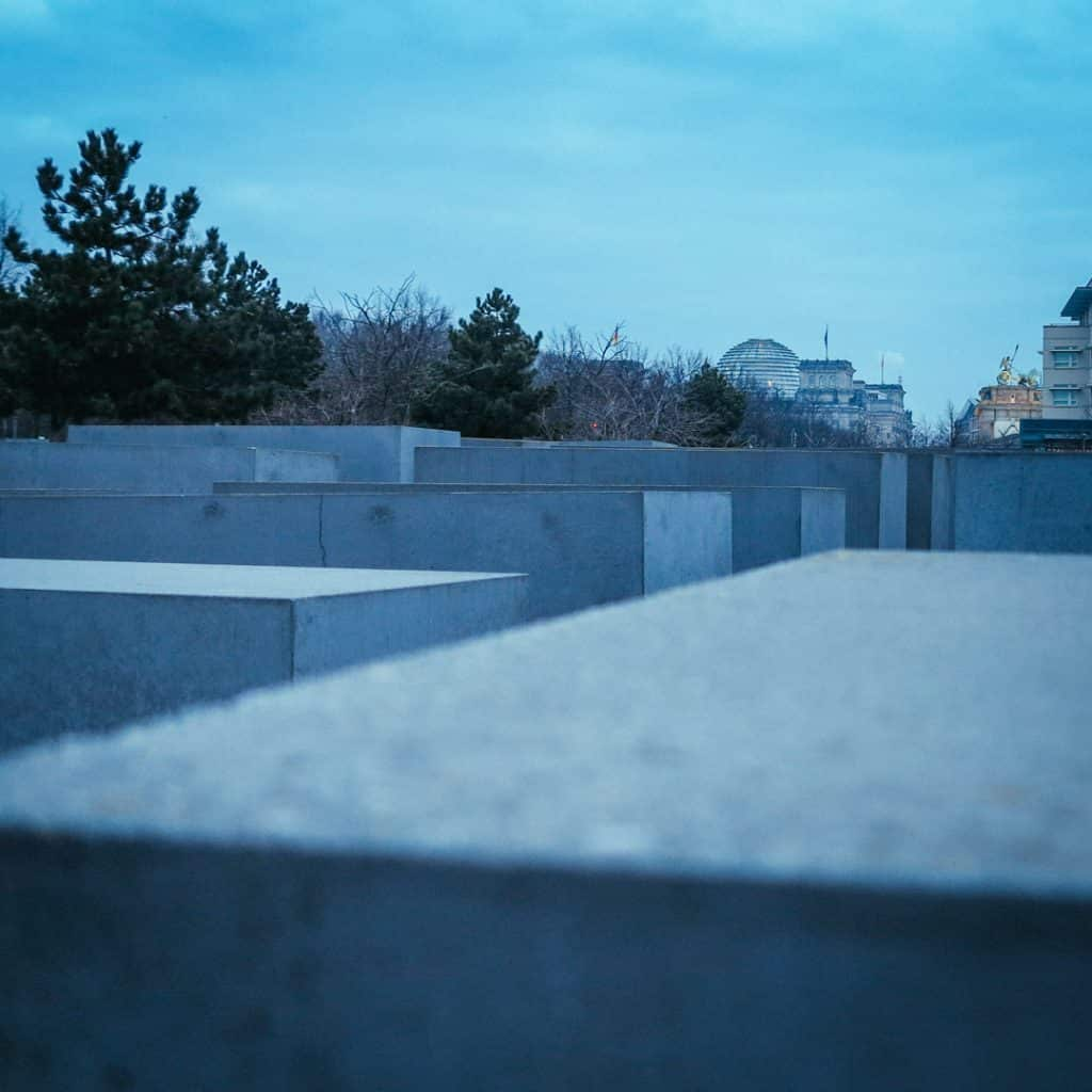 View of the Reichstag and Brandenburg Gate from the Memorial to the Murdered Jews of Europe