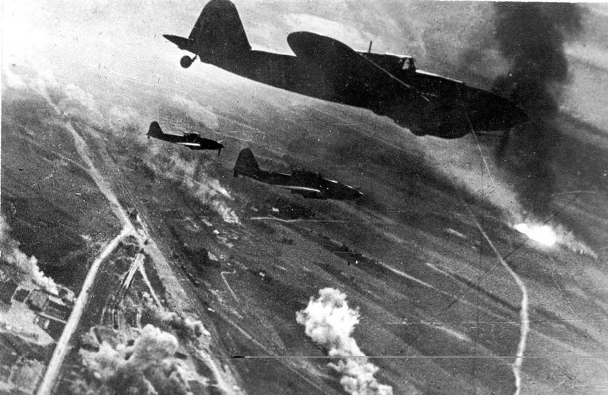Shturmovik air to ground attack aircraft attacking the retreating forces in the Battle of Berlin