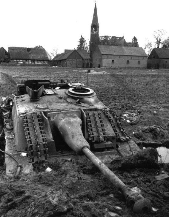 A StuG IIII Ausf G stuck in the mud of Brandenburg