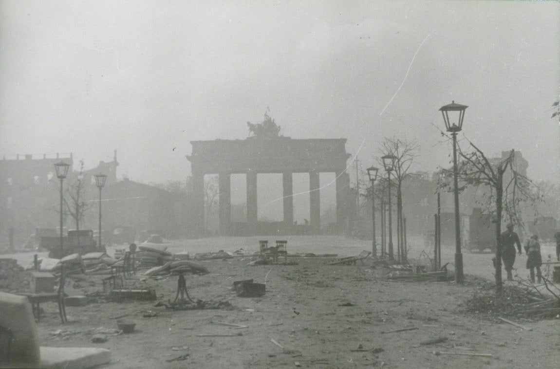 The Brandenburg Gate after the Battle of Berlin