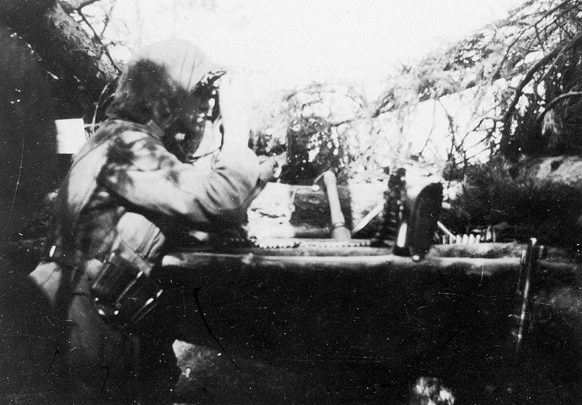 A German officer observing at the Seelow Heights