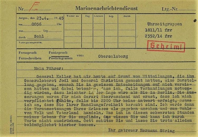 Hermann Göring's telegram to Hitler April 23rd 1945