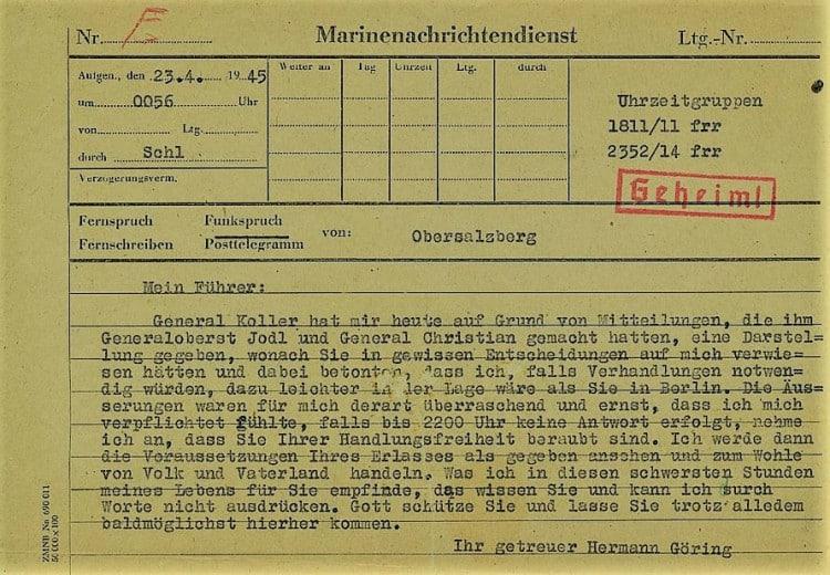 Hermann Göring's telegram to Hitler April 23rd 1945