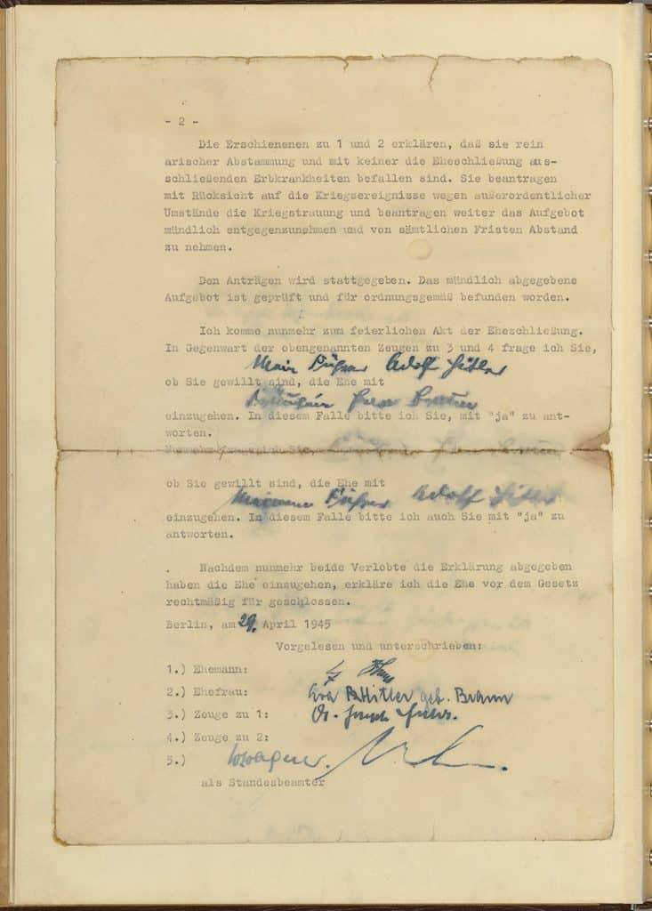 Adolf Hitler's marriage certificate (notice that Eva Braun intially starting writing BRAUN before correcting to HITLER)