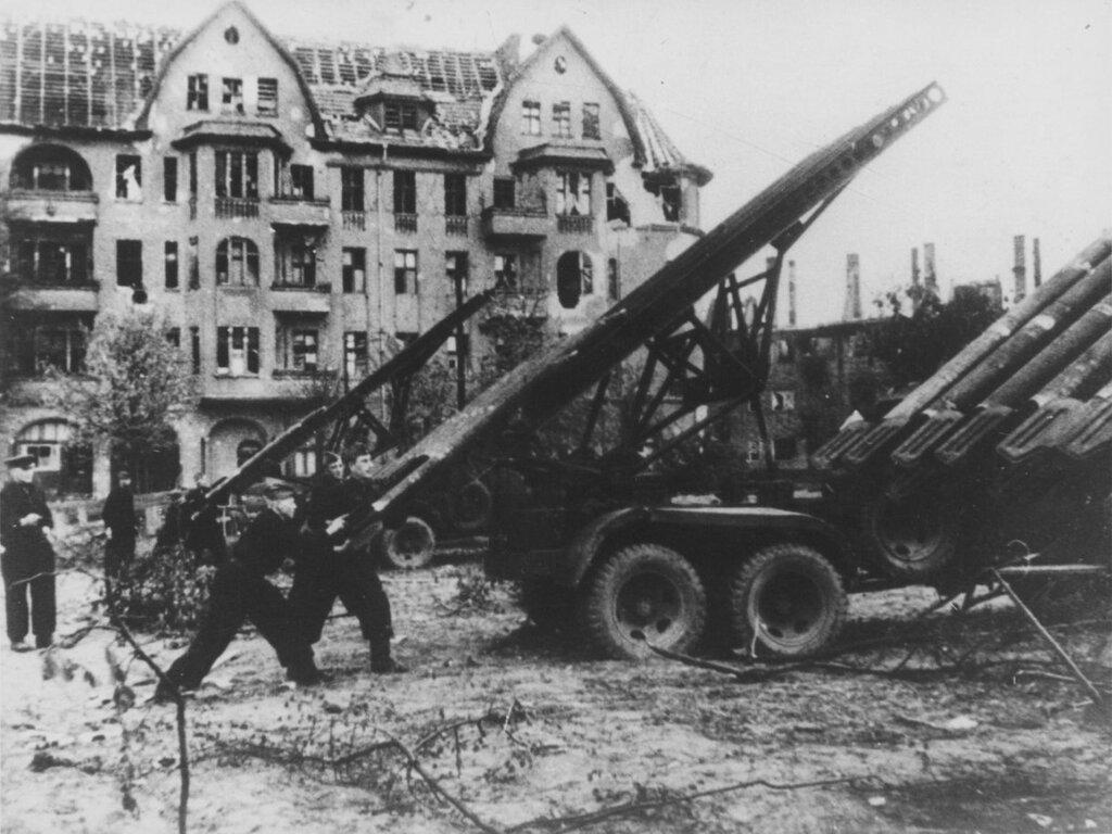 Soviet gunners are preparing for a volley of mortar BM-13 Katyusha in Berlin
