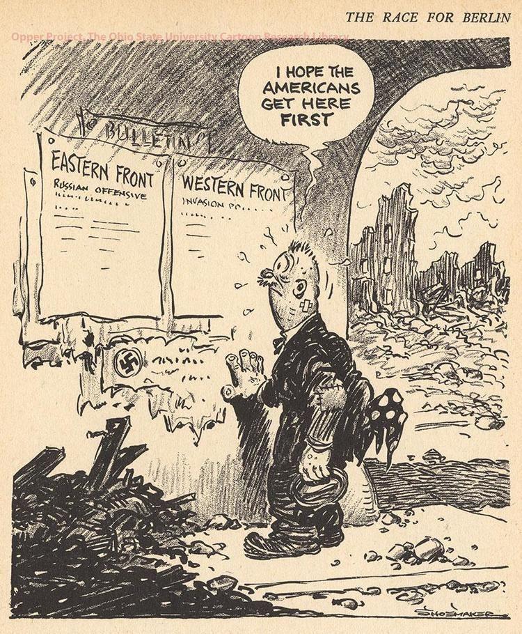 Cartoon depicting the race to Berlin