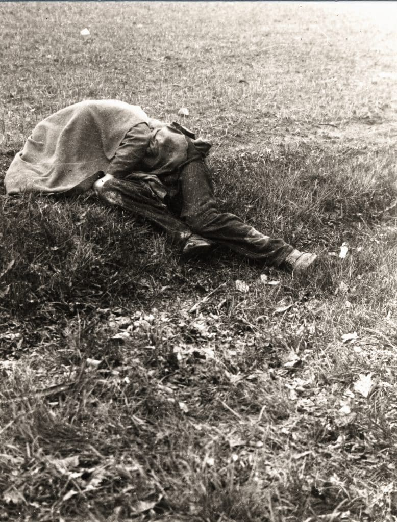 A dead prisoners from Sachsenhausen - a victim of the death marches