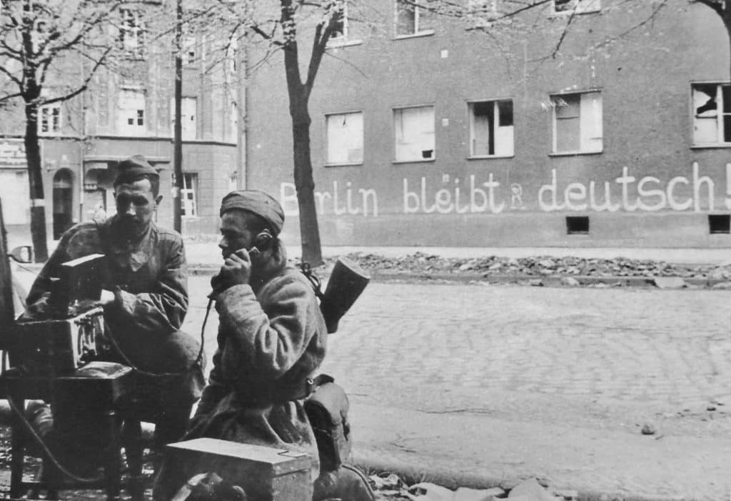 Signalers of the Red Army on the street of Berlin
