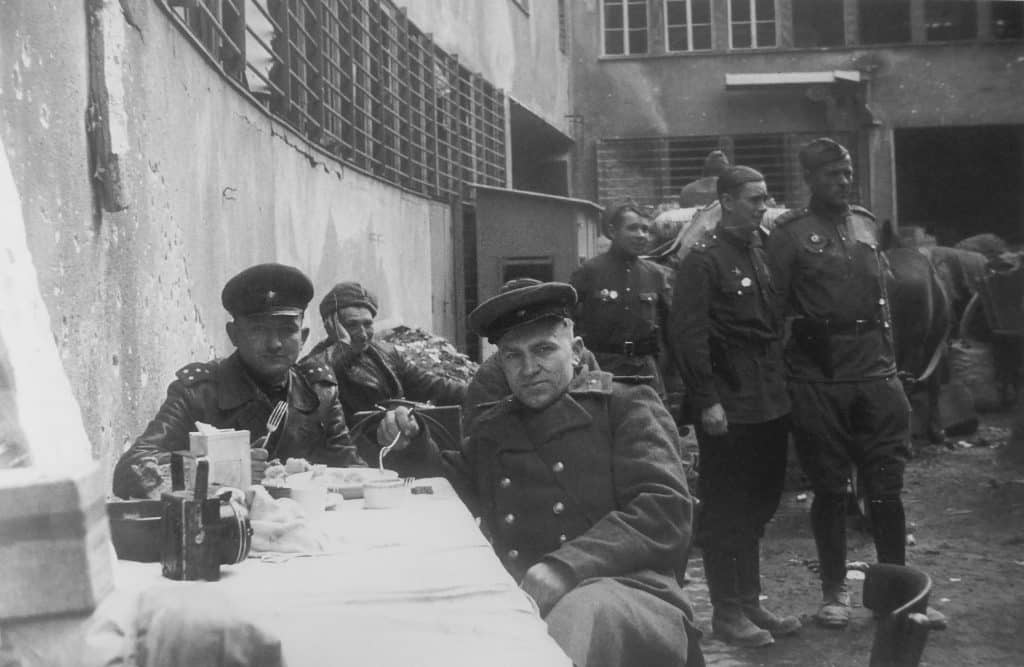 Soviet soldiers and officers are photographed in their free time at a place of deployment in the Tempelhof district of Berlin