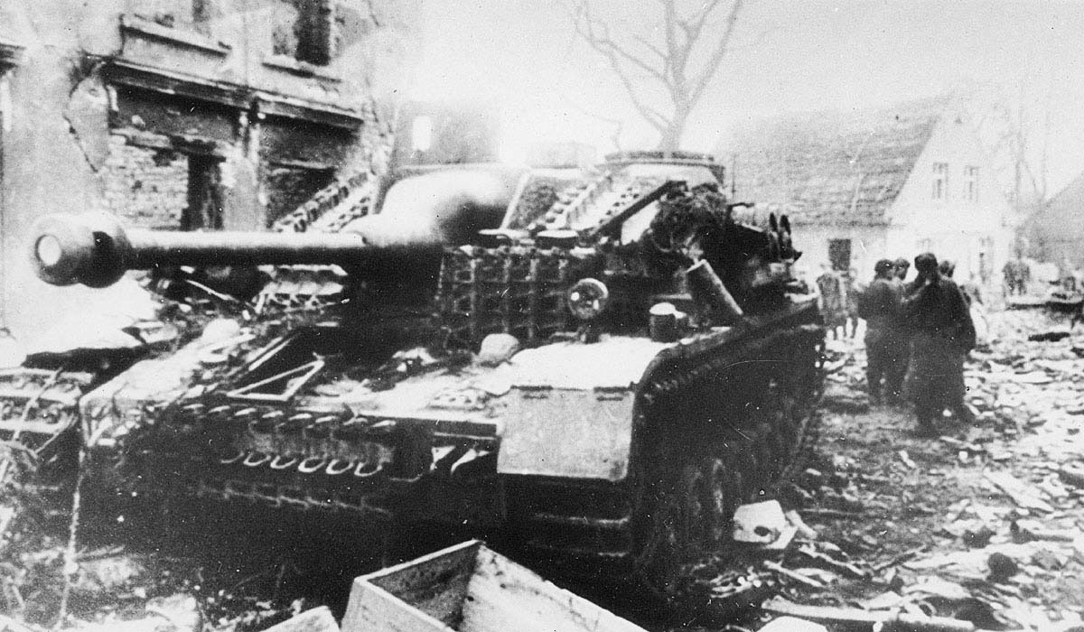 This abandoned StuG IV was destroyed in the fighting with Fifth Shock Army on 27 April