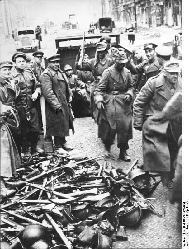 The remaining German defenders on Friedrichstrasse surrender following bitter street fighting in Berlin-Mitte