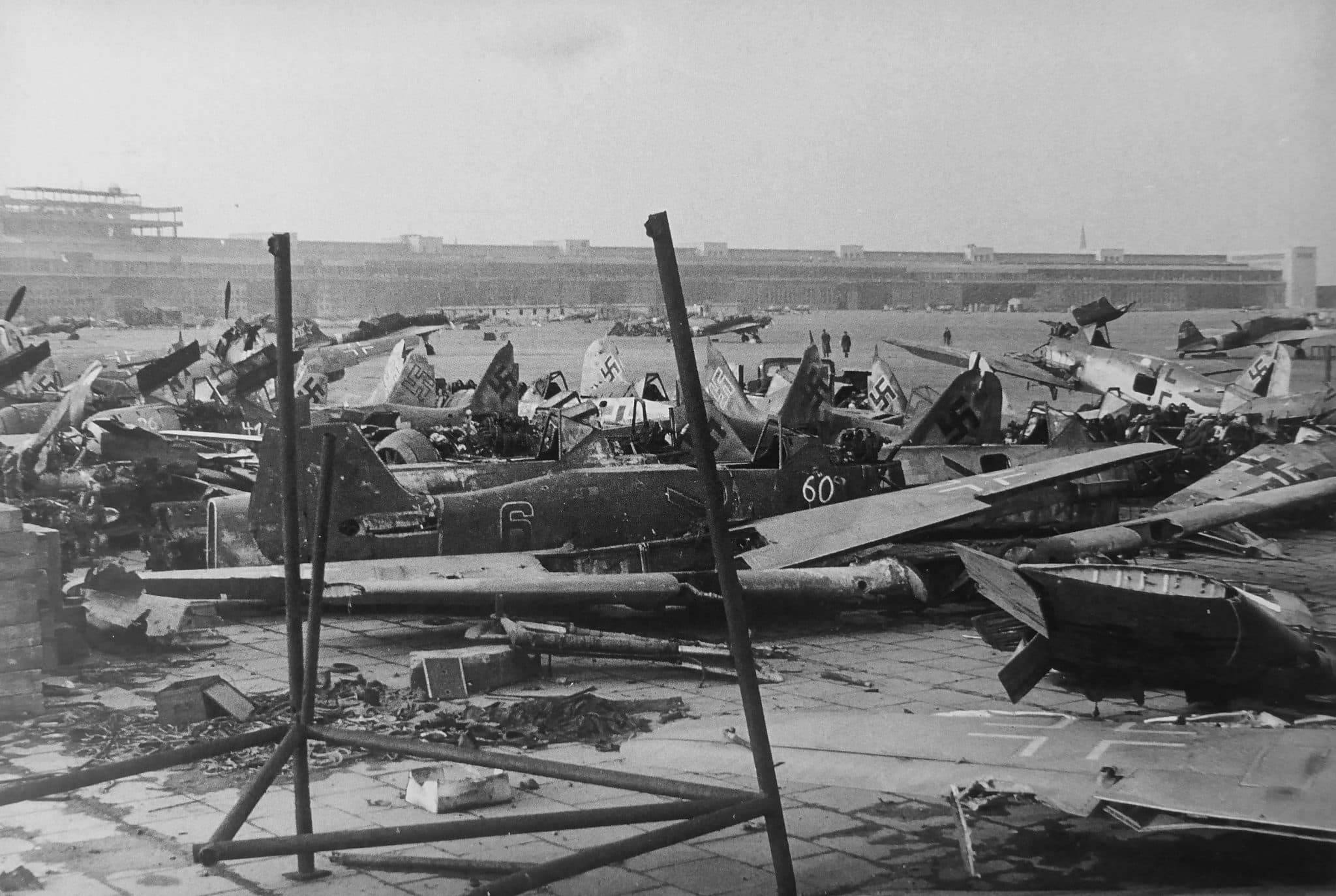 In the foreground are the Fokke-Wulf Fw.190 fighters. In the background are the Soviet IL-2 attack aircraft