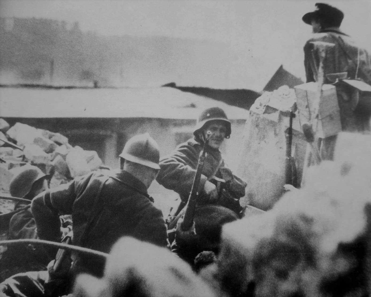 Volkssturm militias continue to maintain a defensive position near the Anhalter Bahnhof in Berlin.