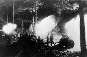 Soviet artillery commence bombardment of the Seelow Heights during the Battle of Berlin