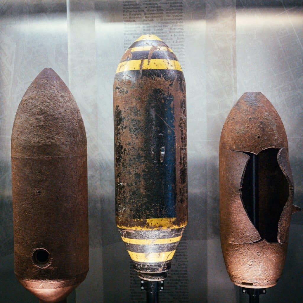 Allied Bombs on display at the Allied Museum