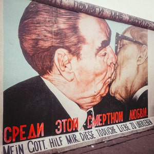 The Bruderkuss at the East Side Gallery