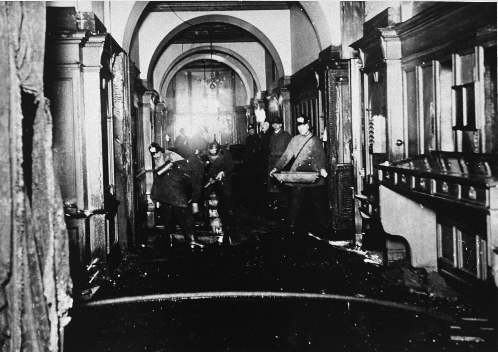 Firefighters inside the German parliament during the Reichstag fire, February 27th 1933