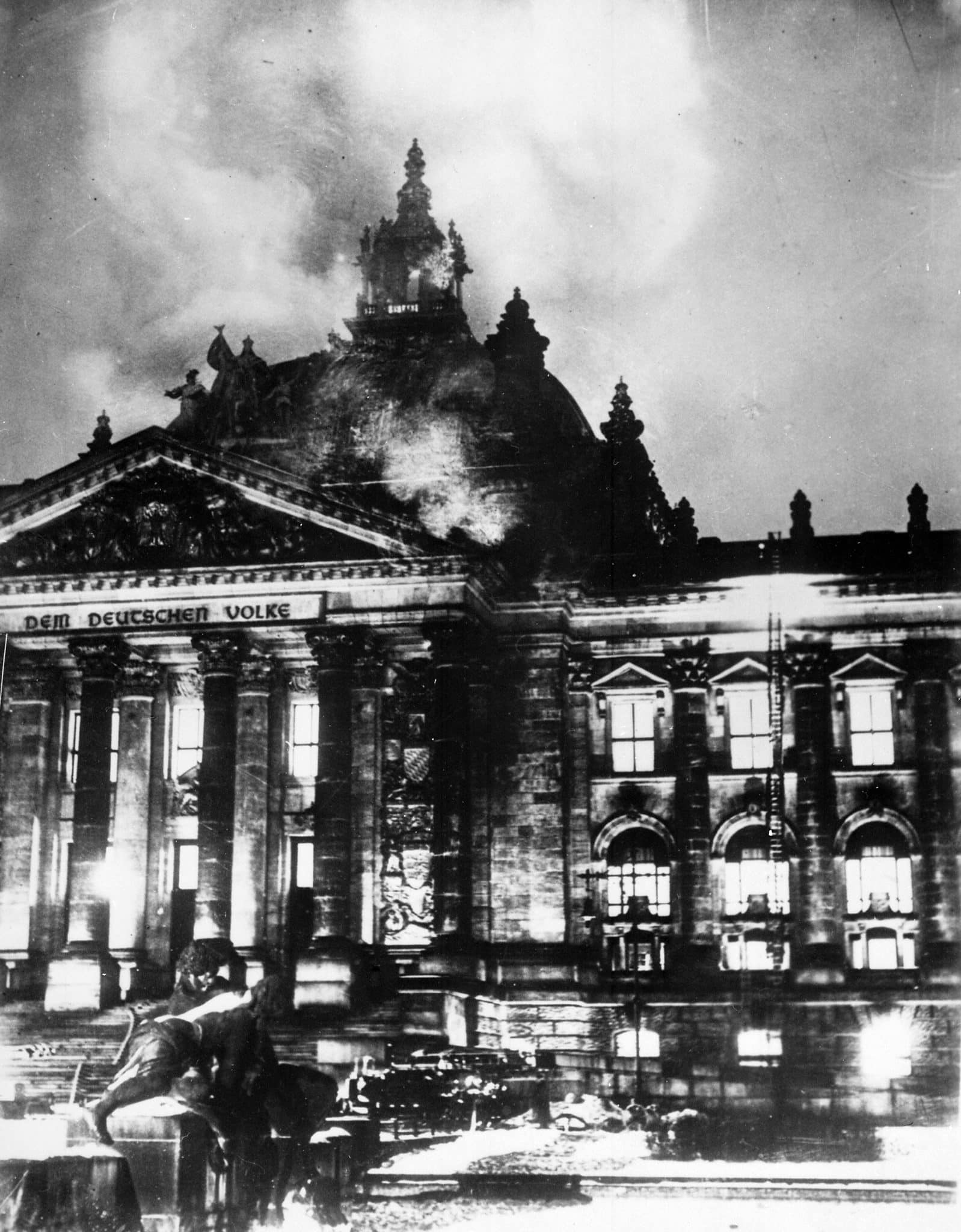 View of the Reichstag on fire from outside, February 27th 1933
