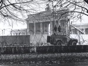 Construction of the Berlin Wall at the Brandenburg Gate