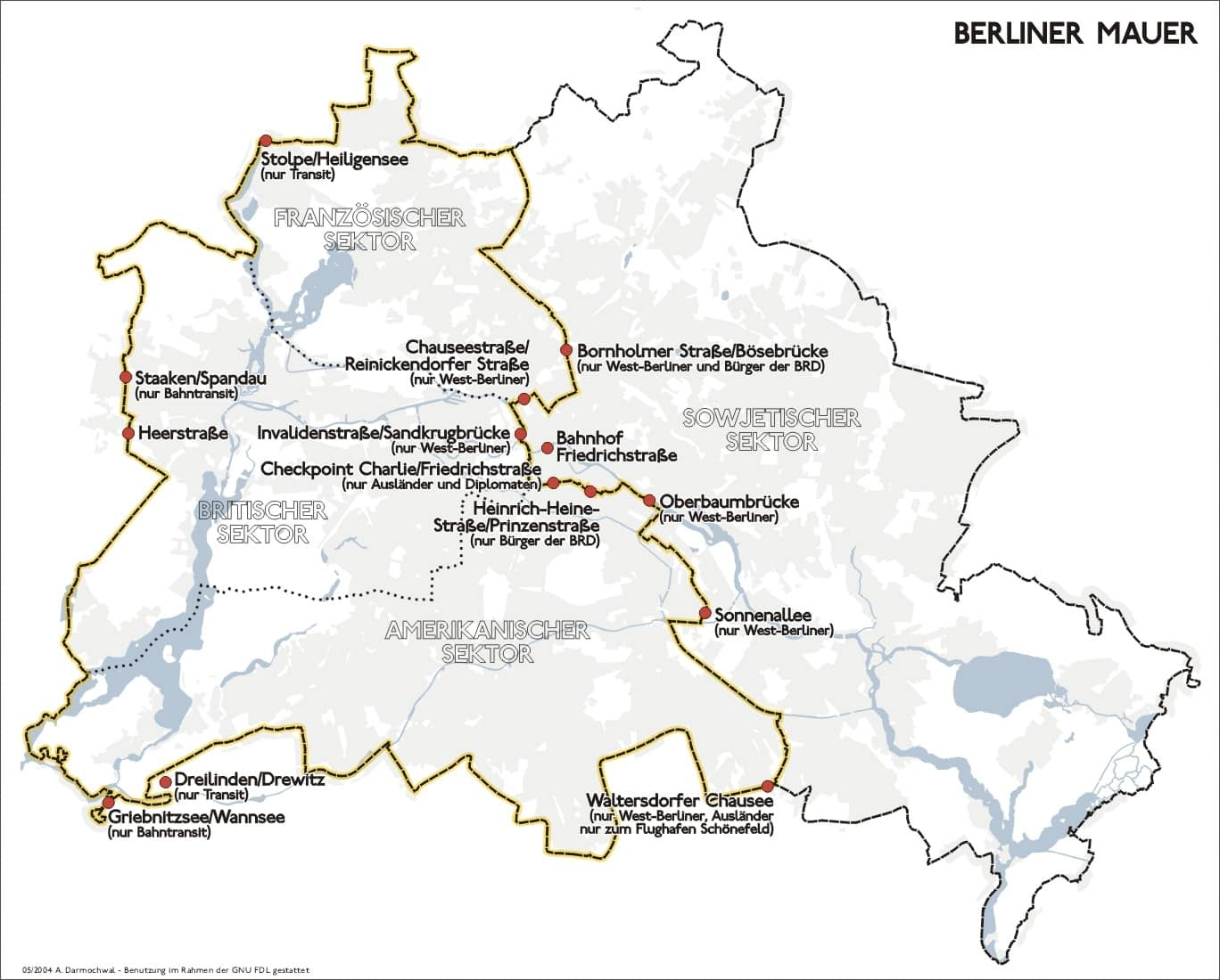 Divided Berlin with the Berlin Wall around West Berlin and featured border crossings