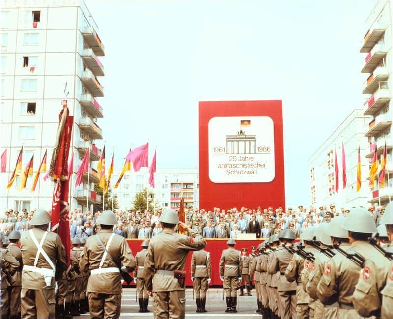 East Germany celebrates the 25th anniversary of the Berlin Wall in 1986