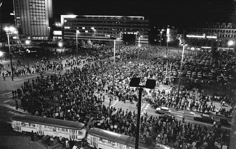 A demonstration in Leipzig on October 16th 1989 - two days before Erich Honecker's removal from power