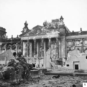 Ruins of the Reichstag in Berlin, 3 June 1945/Public Domain