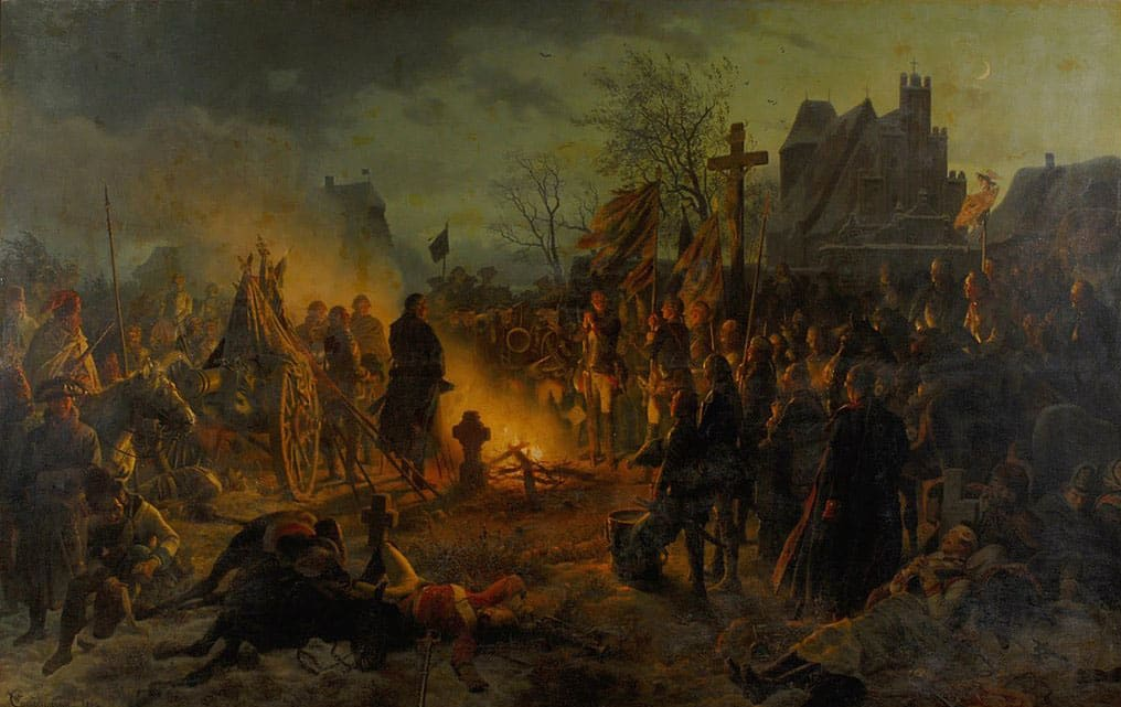 King Frederick the Great of Prussia and his troops on the night of the victory at Leuthen (1757) by Wilhelm Camphausen