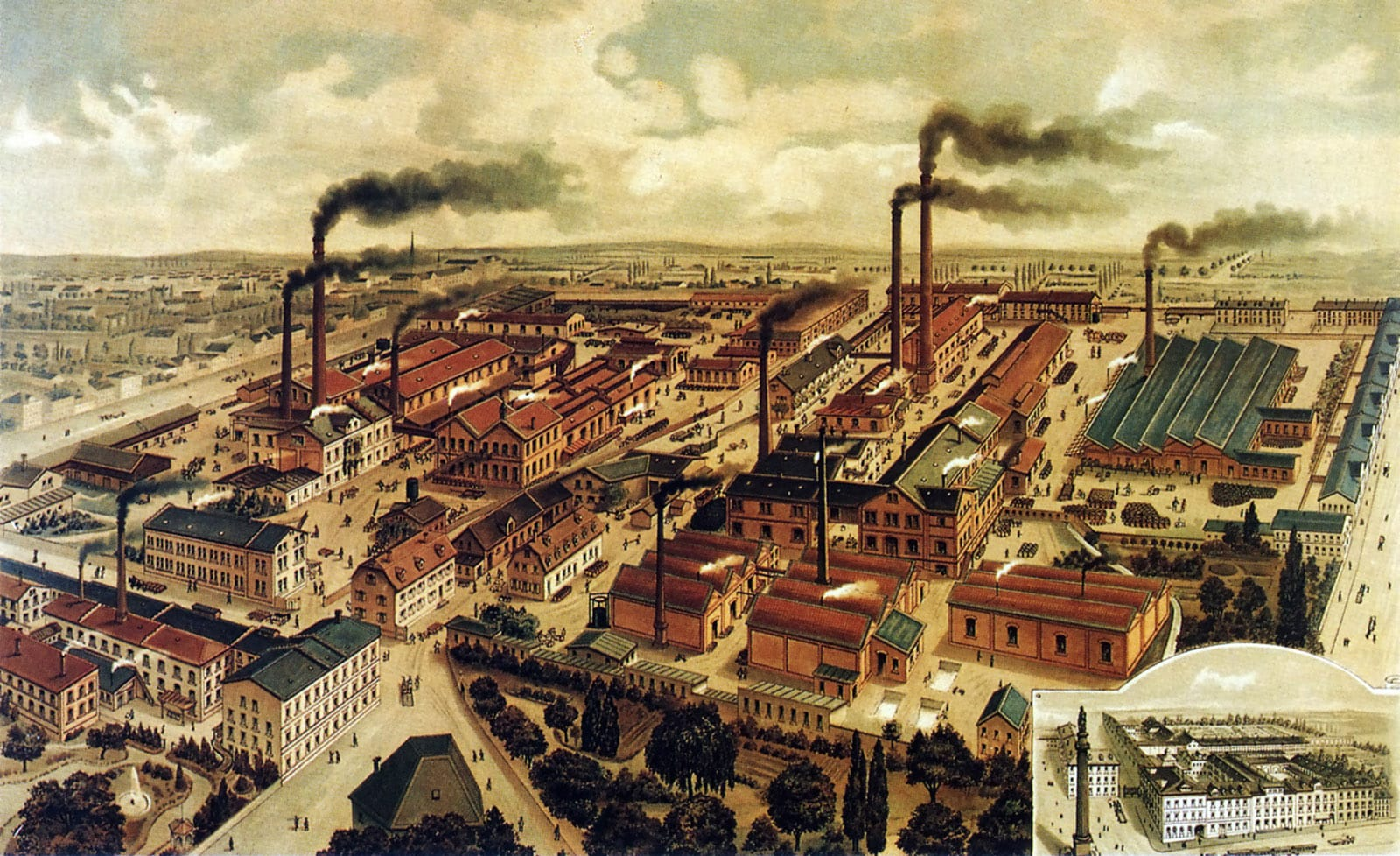 The Merck factory in Darmstadt - 1892 - home to the world's first phara-chemical company